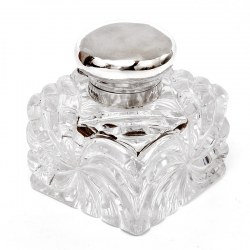 John Grinsell Silver Mounted and Cut Glass Swirl Design Inkwell
