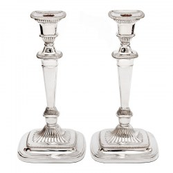 Georgian Style Candle Sticks with Plain Columns and Swept Fluted Rectangular Bases