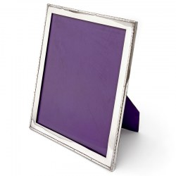 Impressive Silver Photo Frame with Plain Wavy Mount and Black Leathered Easel Back