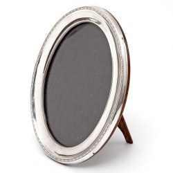 Oval Silver Photo Frame with Plain Mount and Small Beaded Border