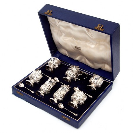Edwardian Boxed Set of Seven Silver Condiments Retailed by Harrods