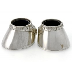 Pair of Silver Horse Hoof Salts with lue Glass Liners (1884)