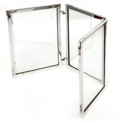 Simple Simon Patent Campaign Style Silver Plated Folding Photo Frame