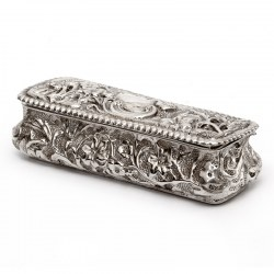 Small Antique Silver Trinket or Jewellery Box with Repousse Floral and Scroll Decoration