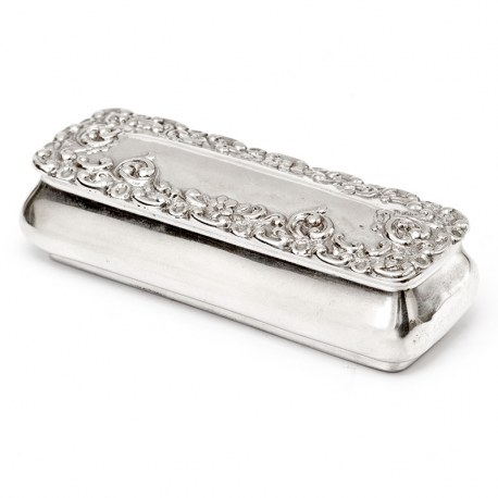 Small Victorian Silver Jewellery Box with a Hinged Lid with Repousse Scroll and Flower Decoration