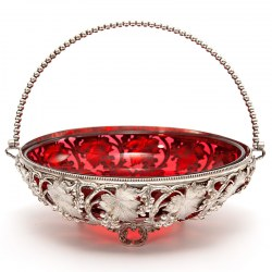 Circular Victorian Silver Plated Basket with Cranberry Glass Liner