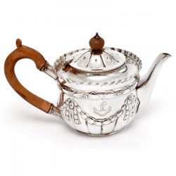 Victorian Silver Bachelor Style Tea Pot with a Crested Body (c.1889)
