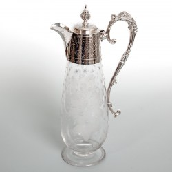 Victorian Engraved Glass Silver Plated Claret Jug with Floral Engraving and Grape and Vine Handle