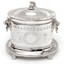 Victorian Silver Plated Biscuit Box with a Roman Helmet Finial and Roman Warrior Frieze