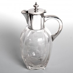 Victorian Silver Plated and Glass Claret Jug Engraved with Thistles