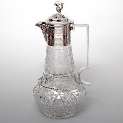 Victorian Silver Plated Cut Glass Claret Jug with Bacchus Spout
