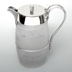 Barrel Shaped Silver Plated and Cut Glass Water or Beer Jug