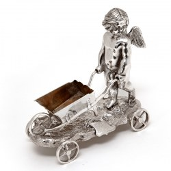 Victorian Silver Plated Winged Cherub Pushing a Wheelbarrow Salt