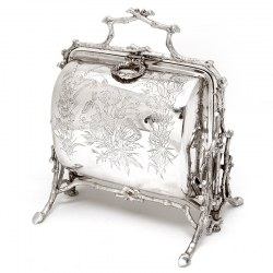 Victorian Fenton Brothers Beautifully Engraved Silver Plated Biscuit Warmer
