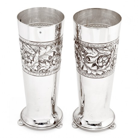 Pair of Antique Walker and Hall Plain Silver Plated Flower Vases