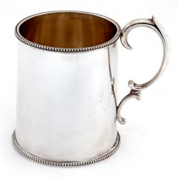 Plain Edwardian Silver Christening Mug with Scroll Handle and Beaded Border