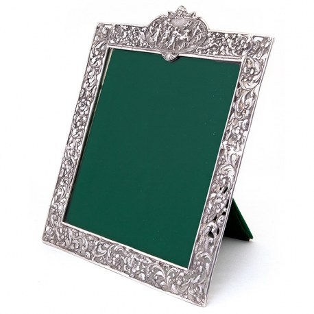 Antique Square Silver Frame with a Cartouche Depicting Females and Horses