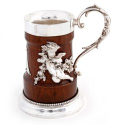 Victorian Oak and Silver Plate Pint Tankard Decorated with Two Winged Cherubs